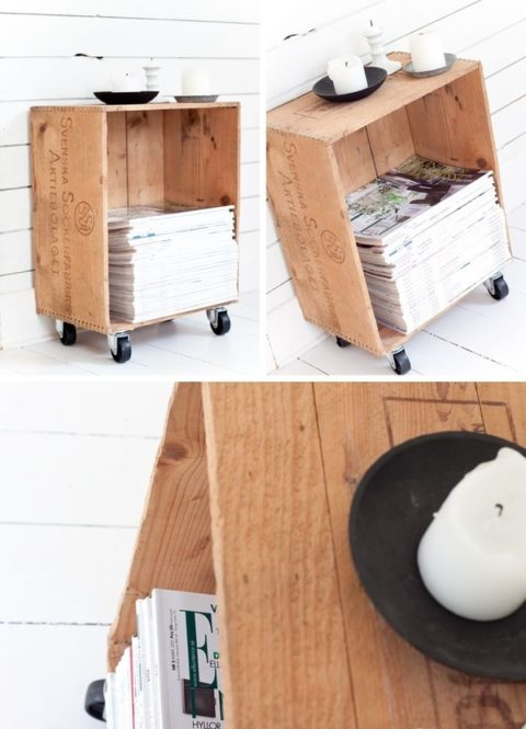 Wooden Crate Magazine Rack DIY