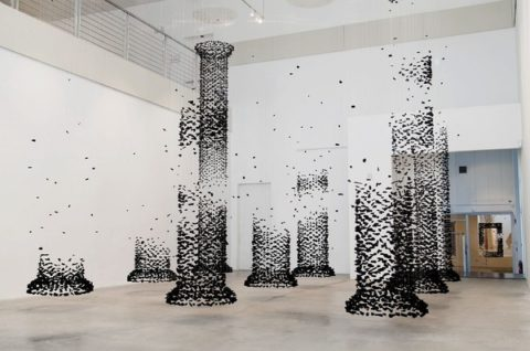 Columns Constructed from Suspended Charcoal by Seon Ghi Bahk