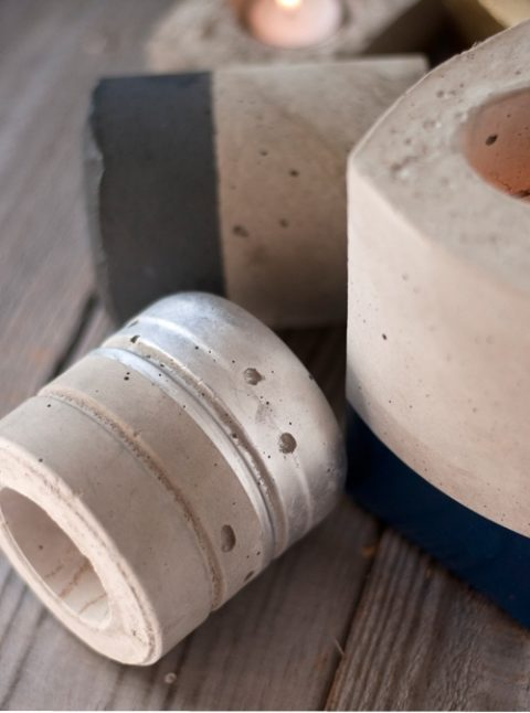 DIY Cement Candleholders