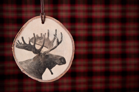wood slice ornament - finished