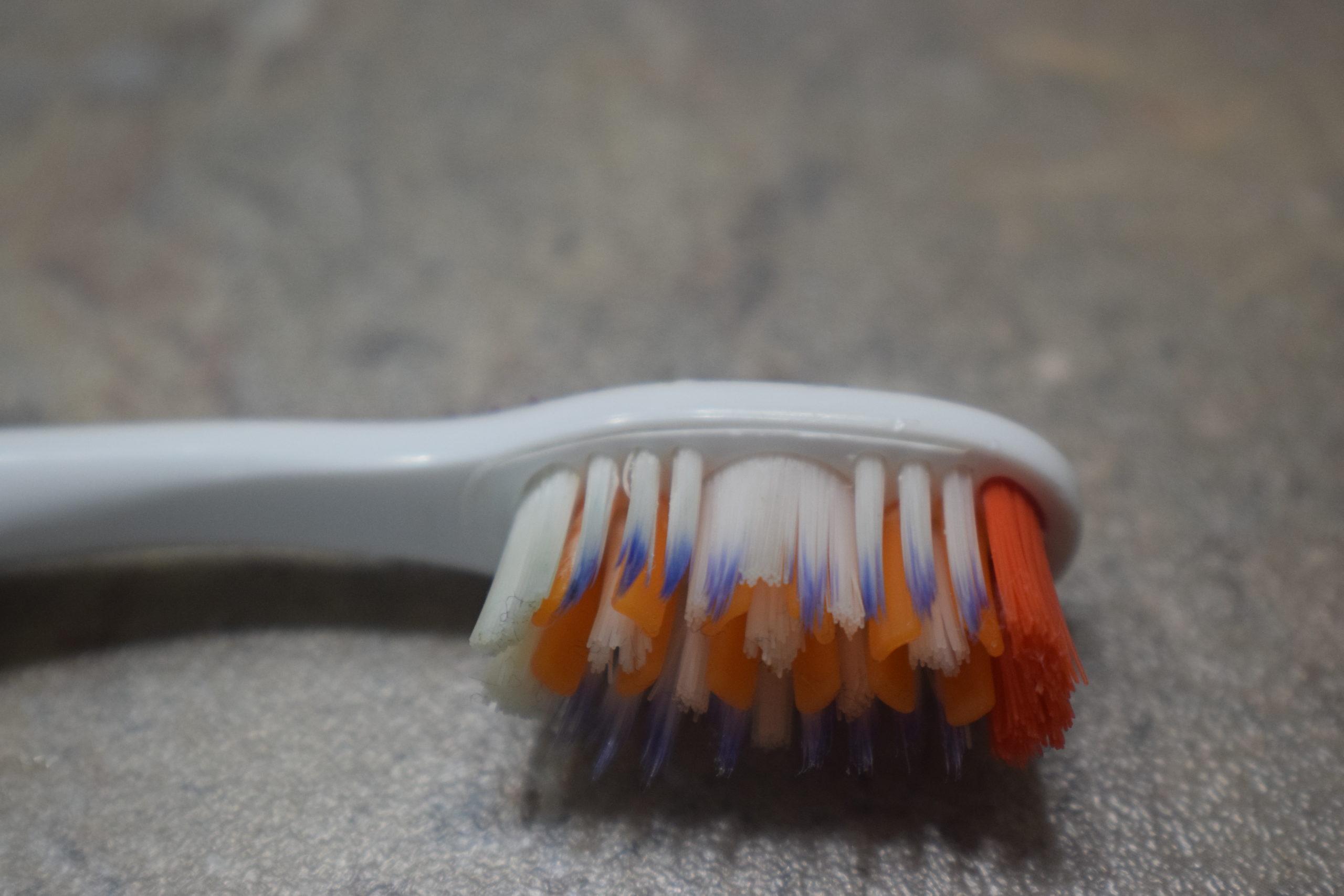 Orange, purple and white bristles on a toothbrush
