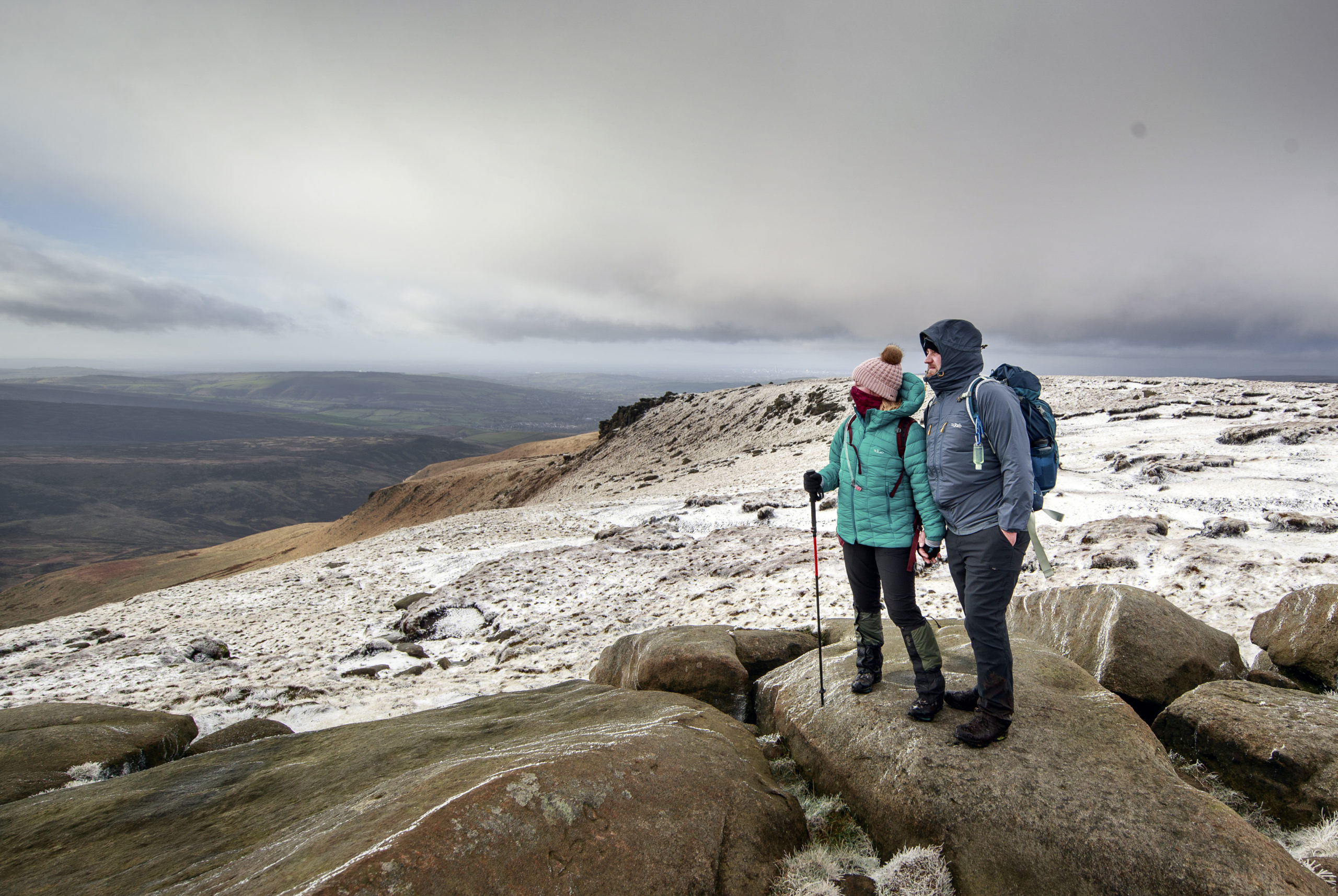 Hikers in snowy conditions