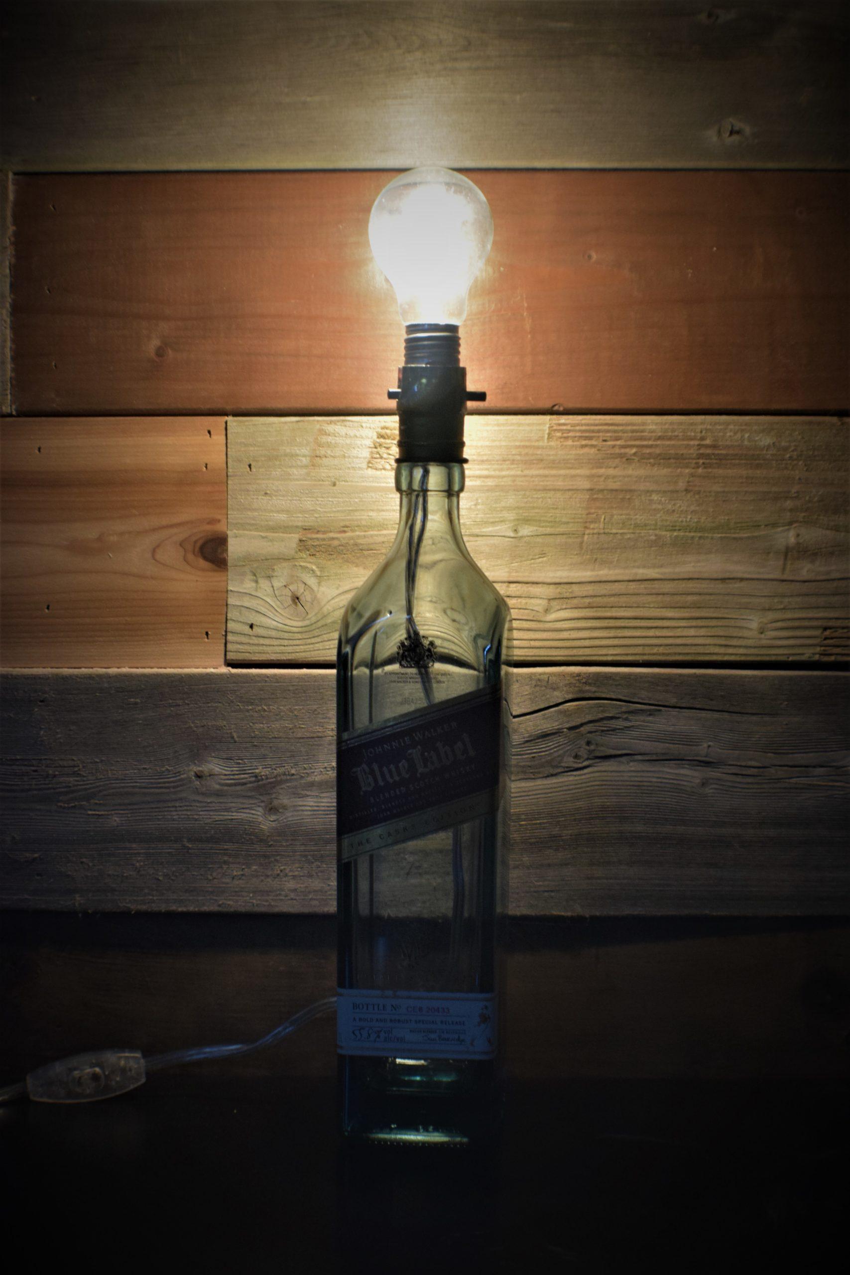 liquor bottle lamp with light buld
