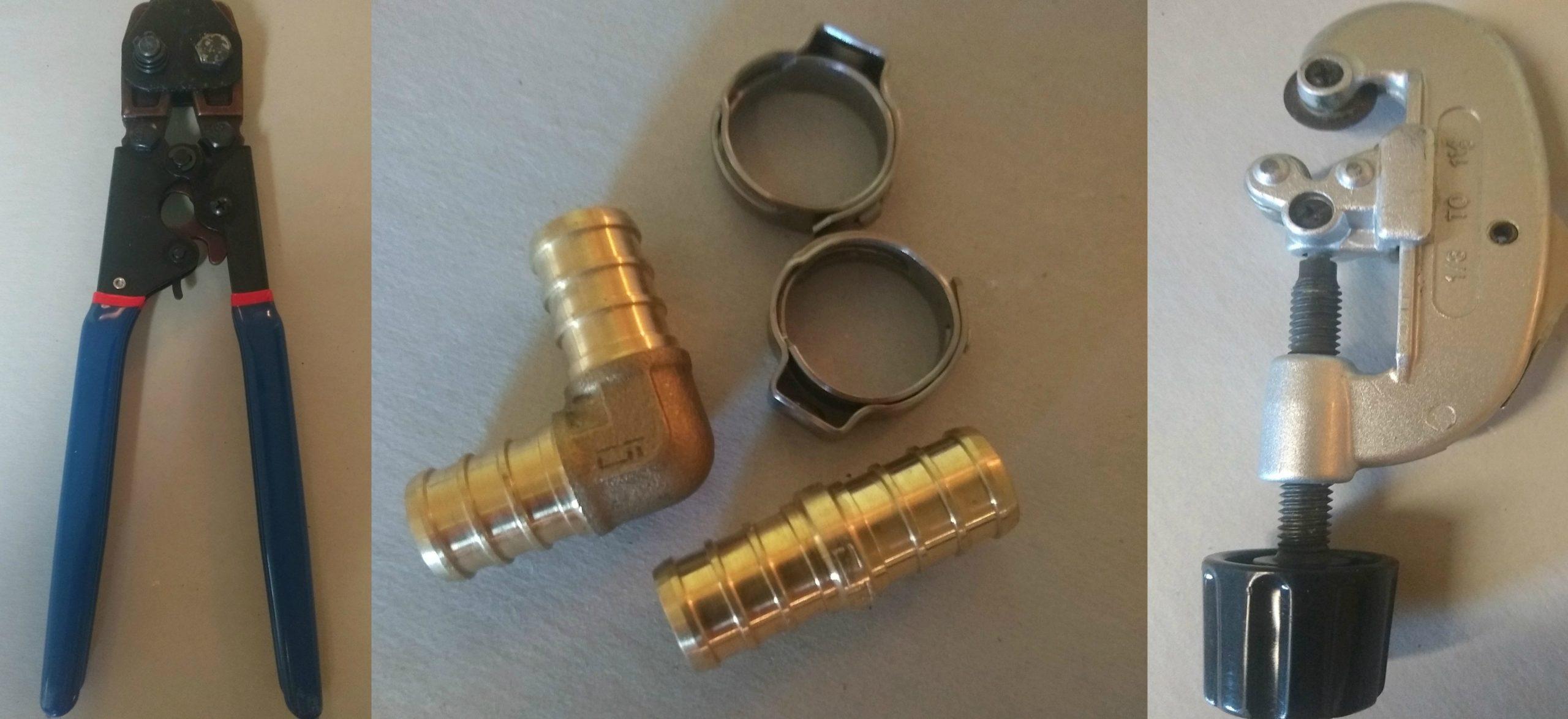 PEX crimper, bands, fittings, cutter