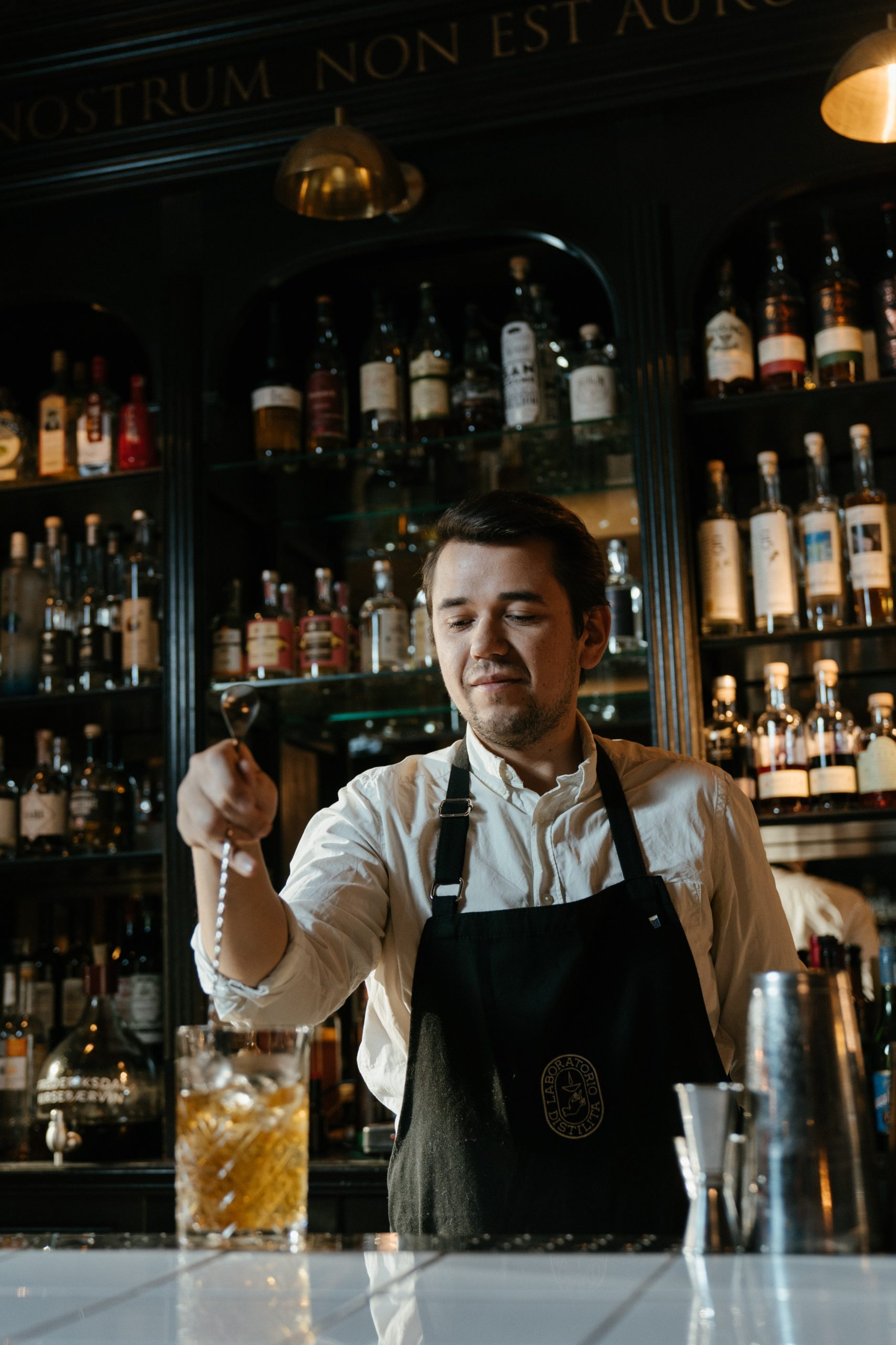 male bartender mixing a drink in a bar with a stir spoon
