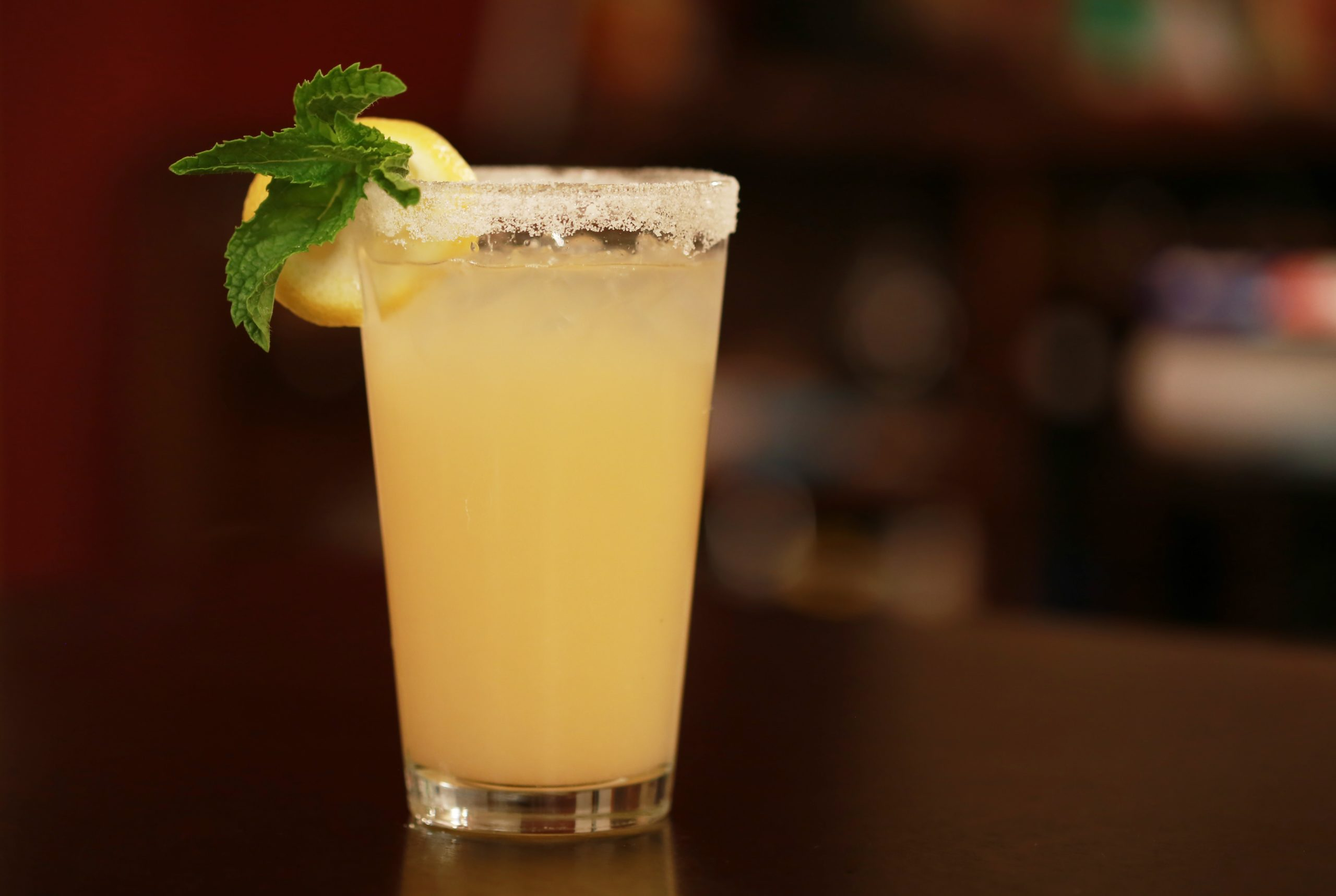 beverage with sugar rim, mint and lemon