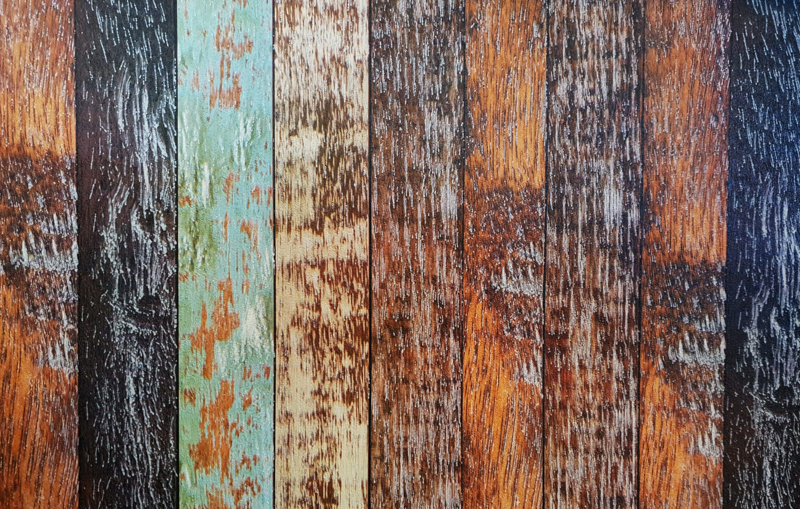Worn down colored wood boards