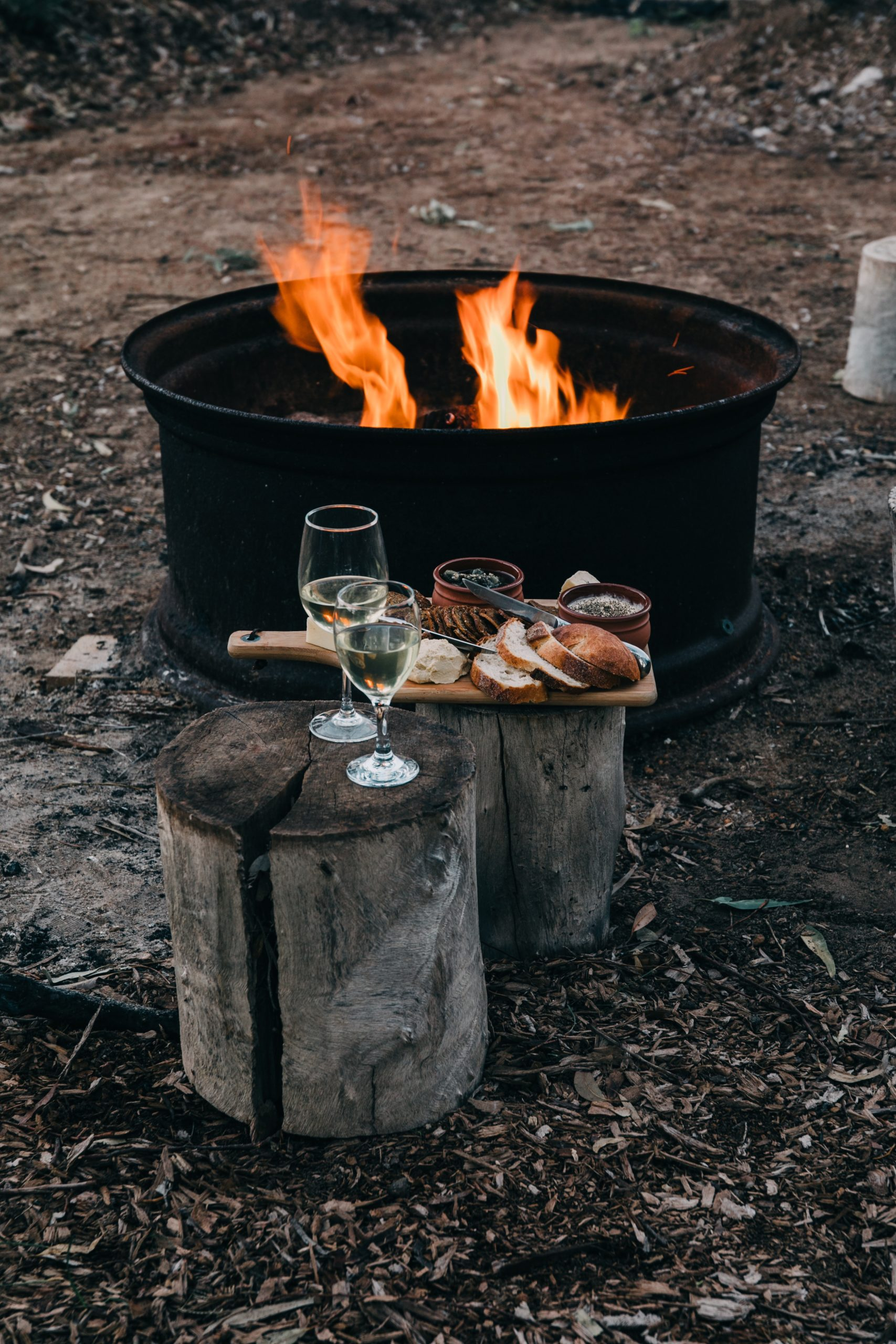 Charcuterie board with wine glasses on wood stump's by a campfire