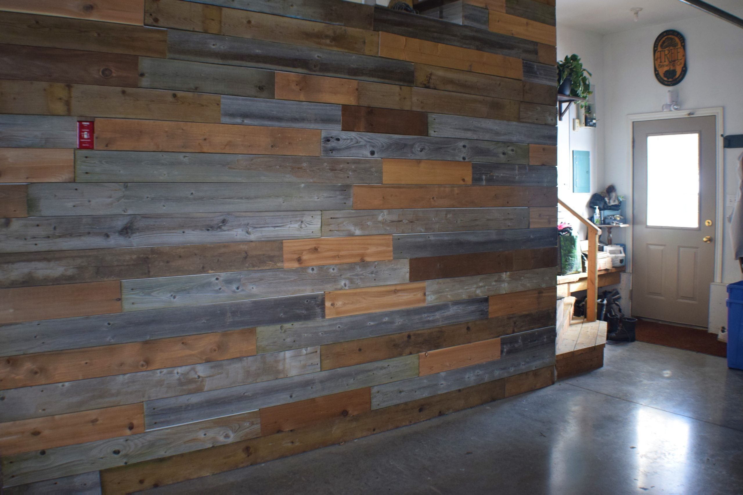 relaimed wood wall with multi colored boards