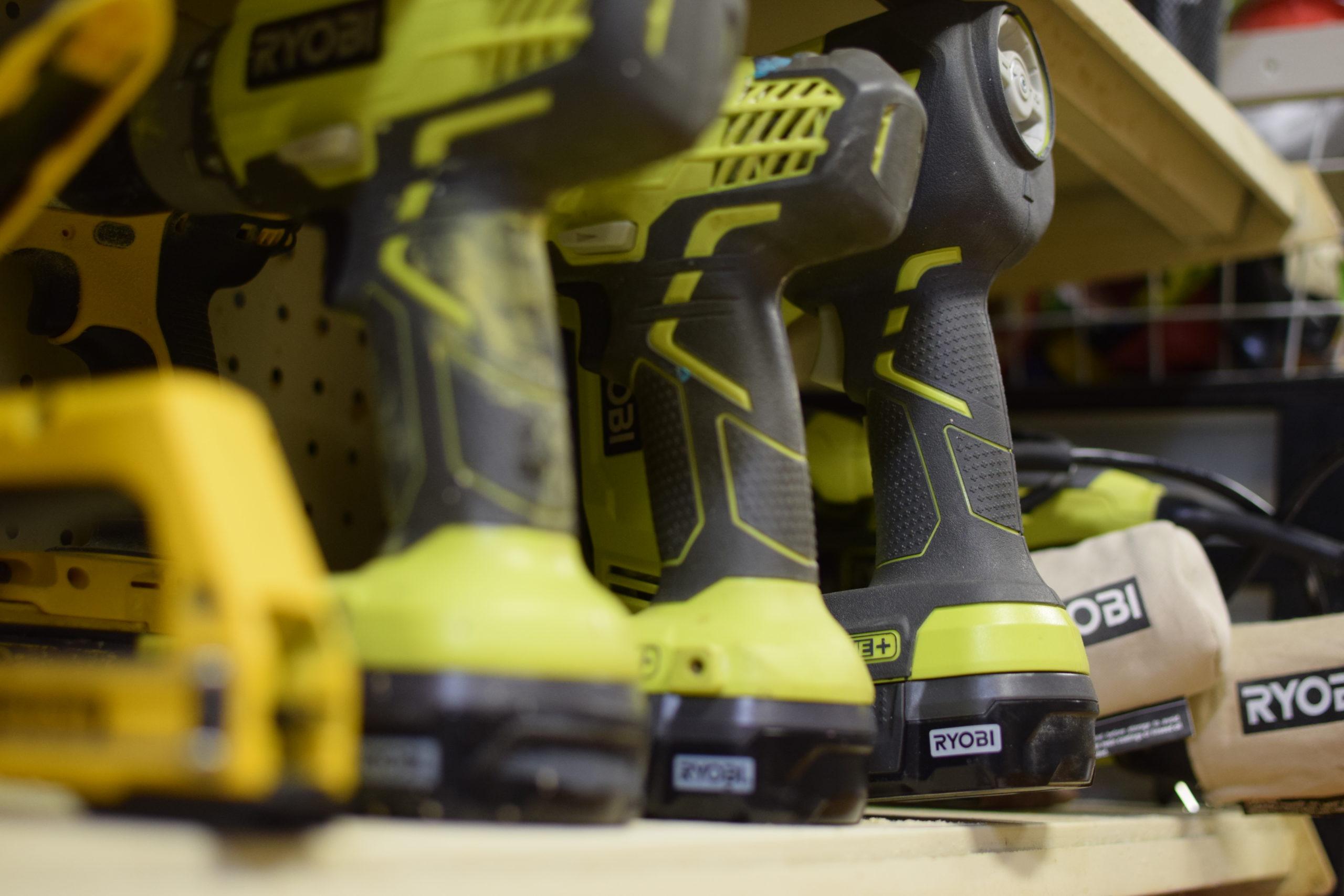 row of Ryobi power tools