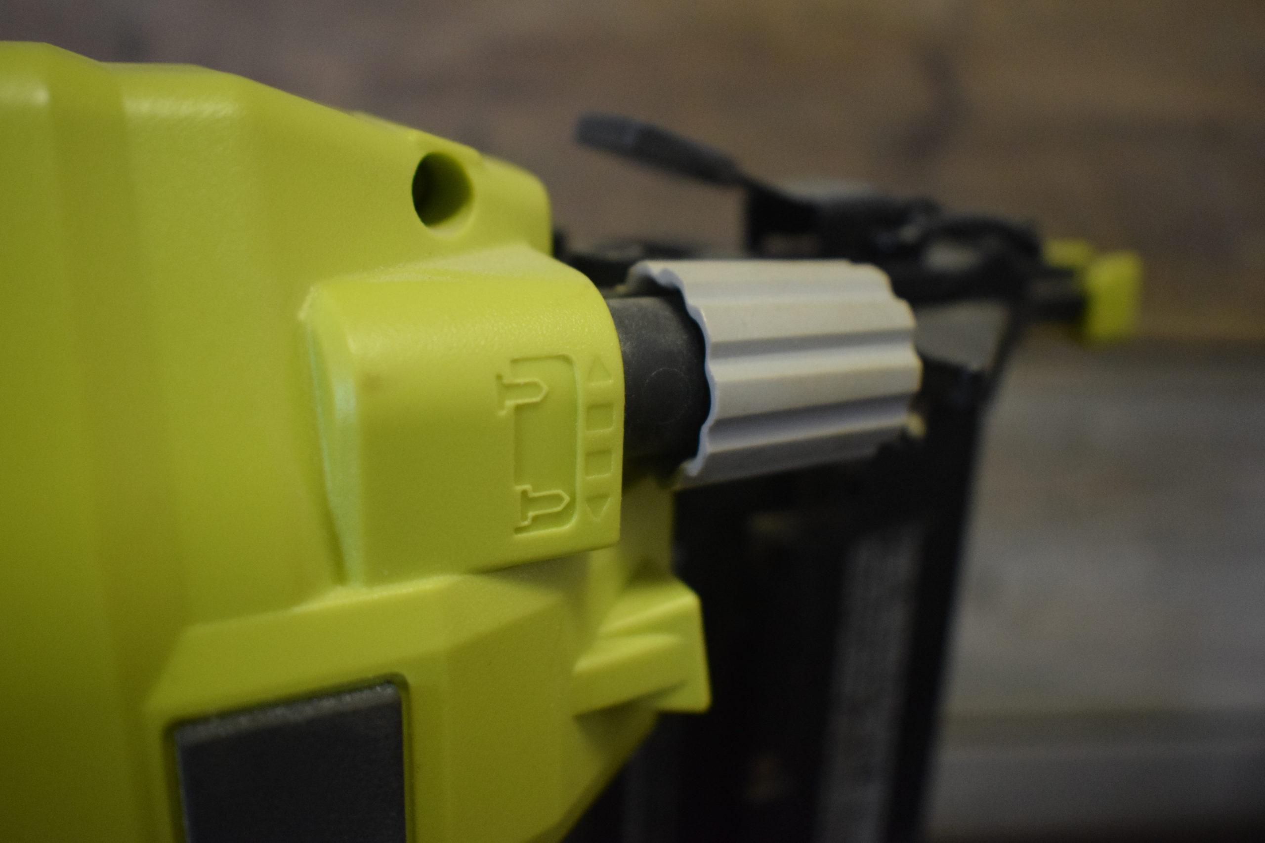 Depth adjustment setting on ryobi airstrike nail gun