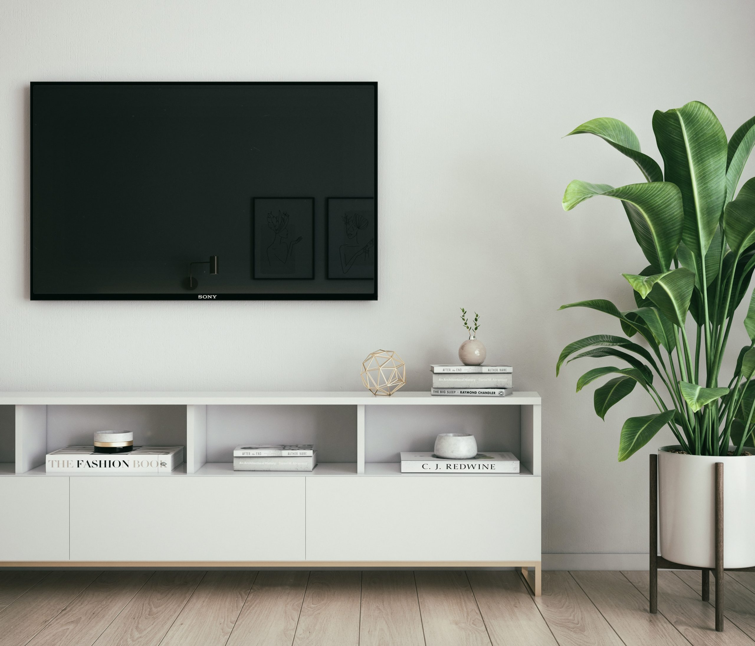 mounted television on living room wall