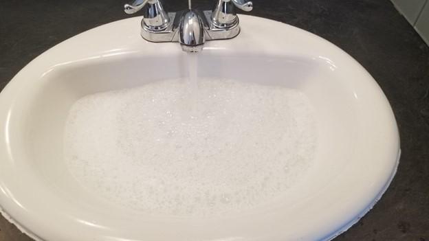 running water in a sink