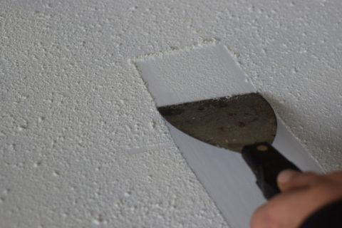 scraping texture from a popcorn ceiling