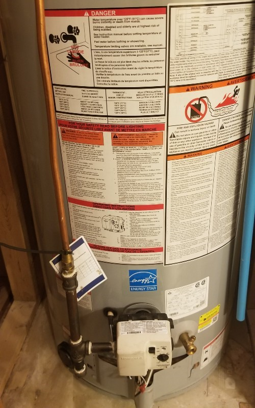 water heater with maintenance labels