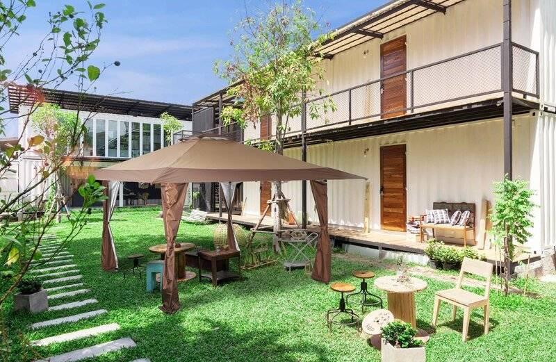 Backyard canopy set-up on grass