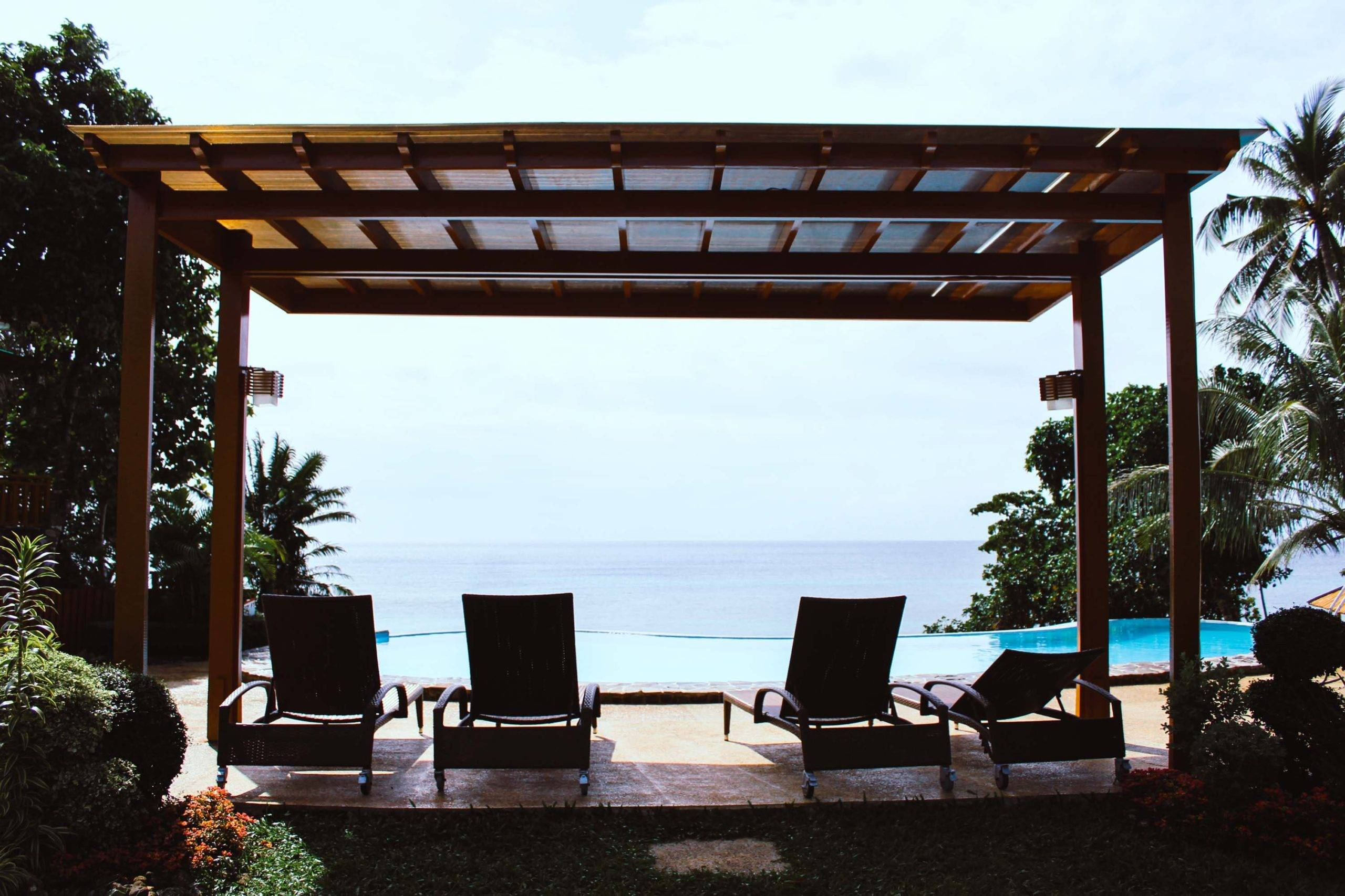 Lounge chairs overlooking the sea