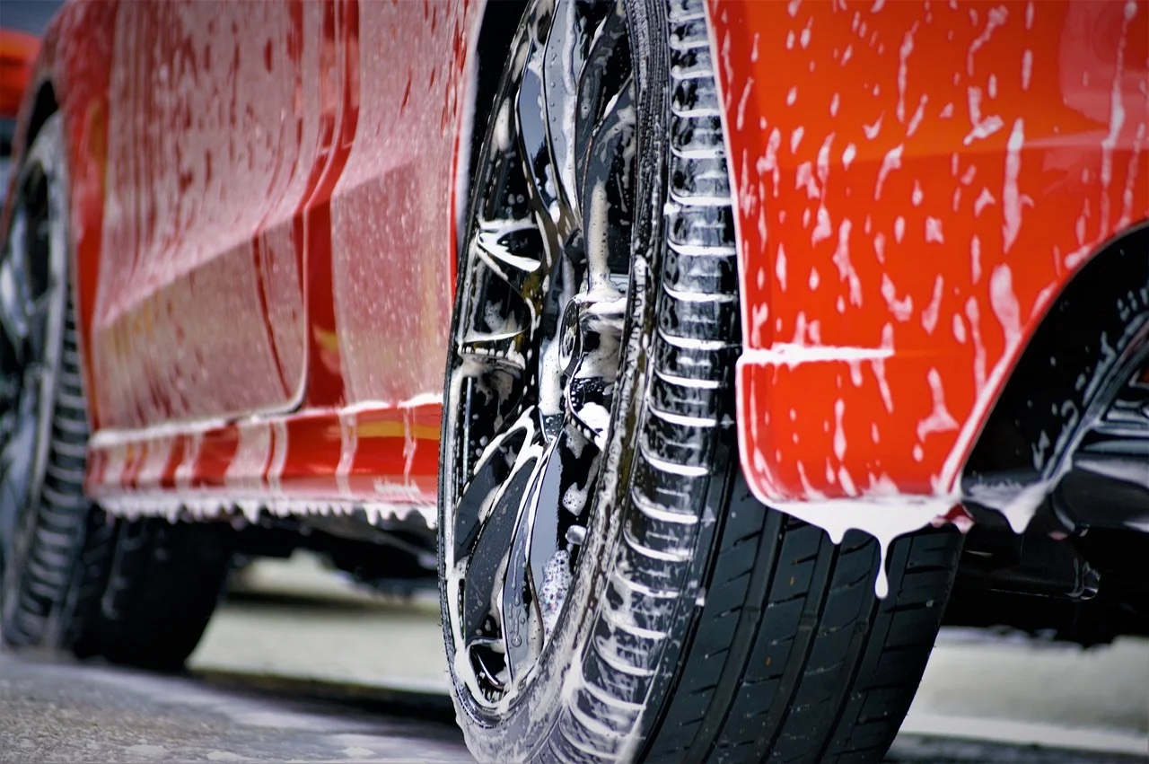 car tire with soap