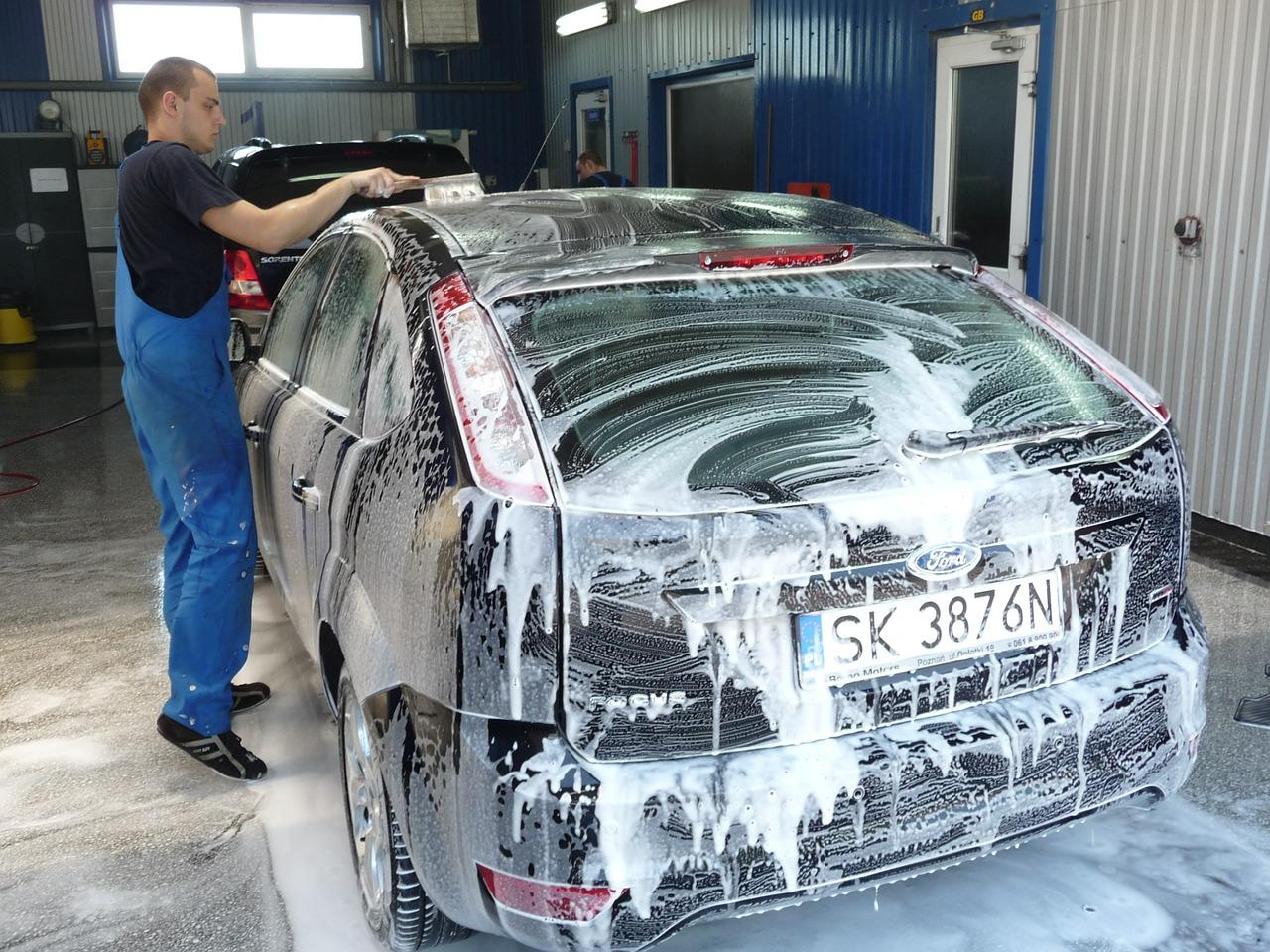 Man Brushing Car