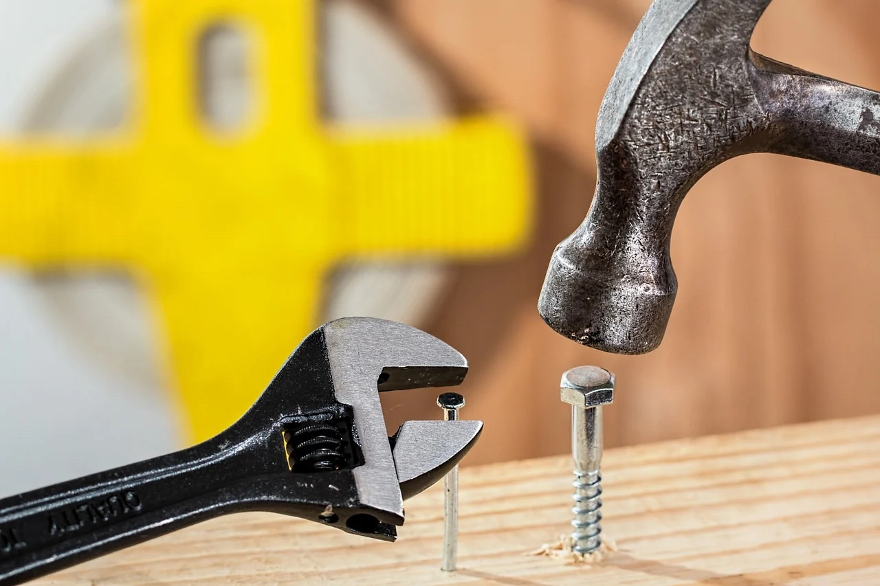 Wrench and nail, hammer and bolt