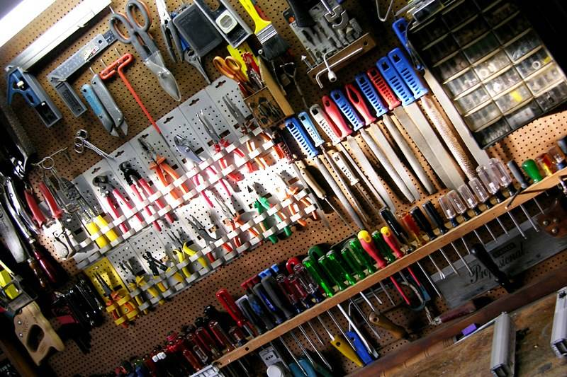 tools mounted on workshop wall