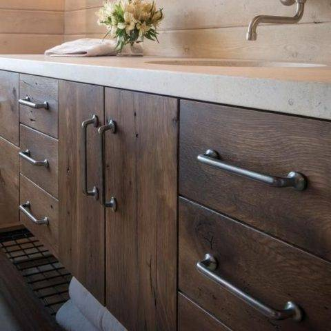 wooden cabinets with silver pulls