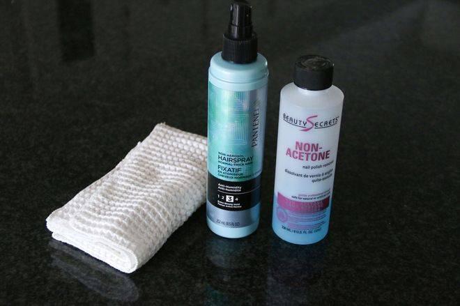 hairspray and non-acetone nail polish remover