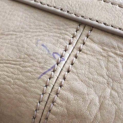 ballpoint pen on leather