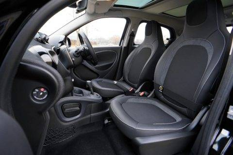 Black car interior with leather seats