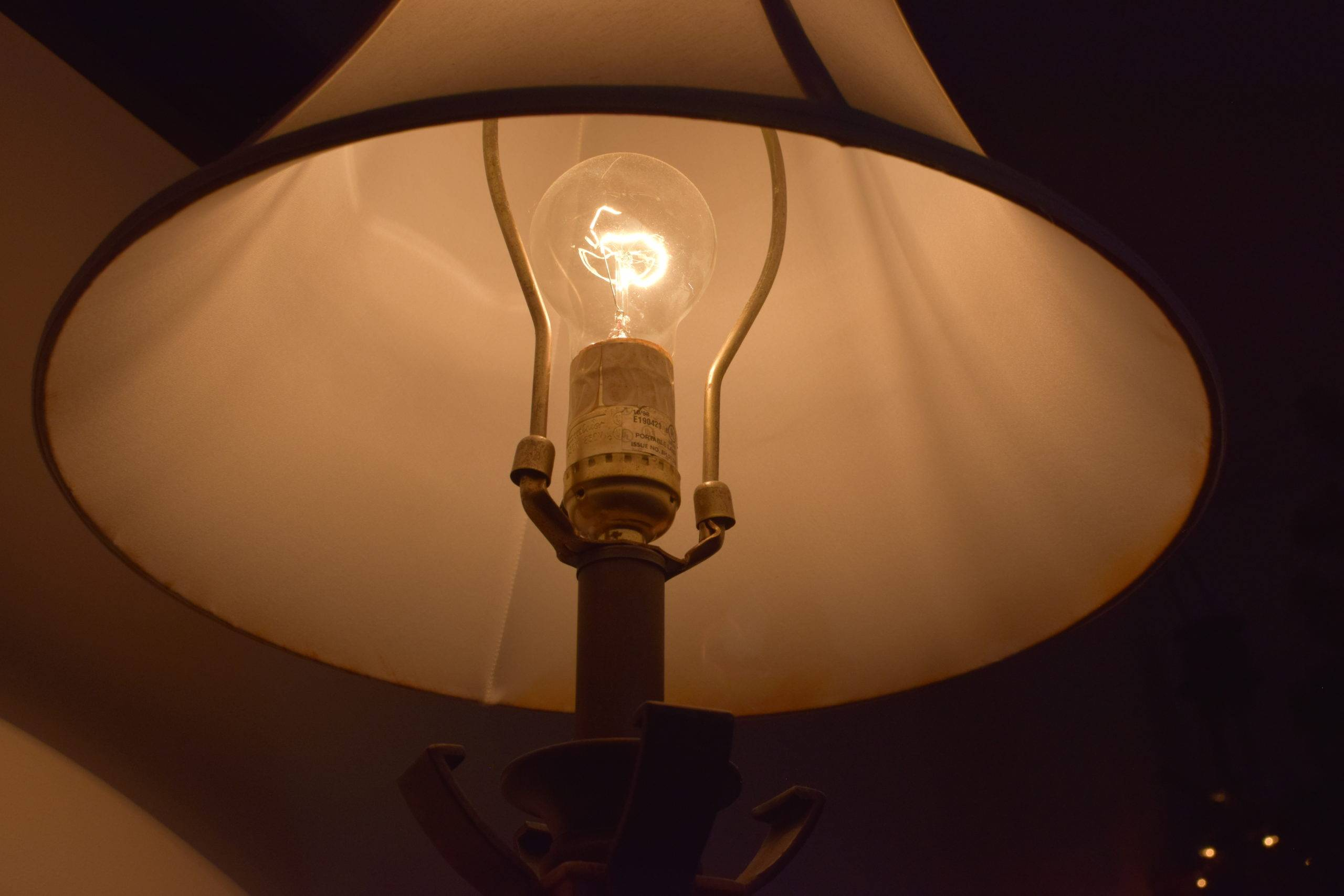 Close up photo of light bulb in a lamp