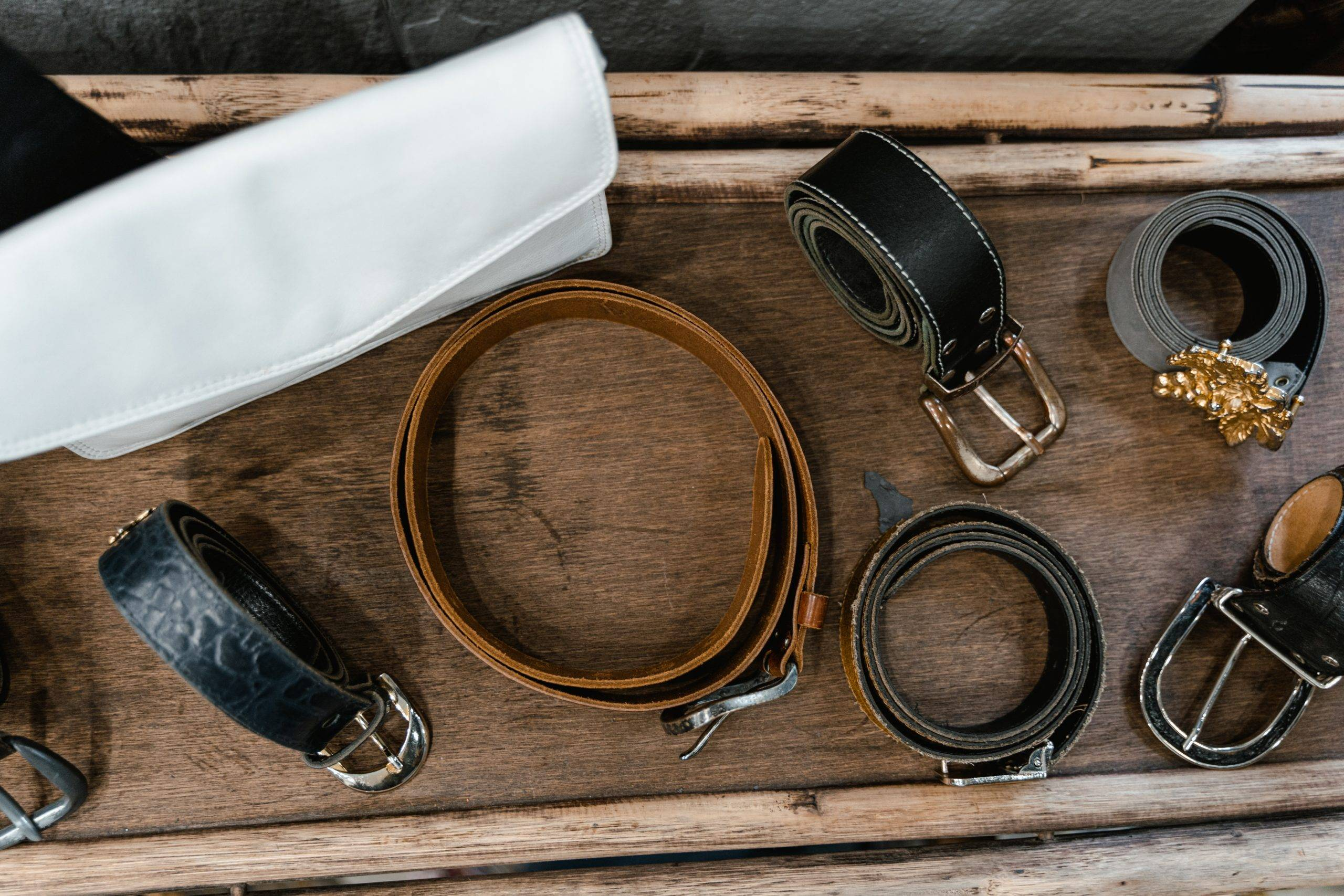 Collection of rolled up belts