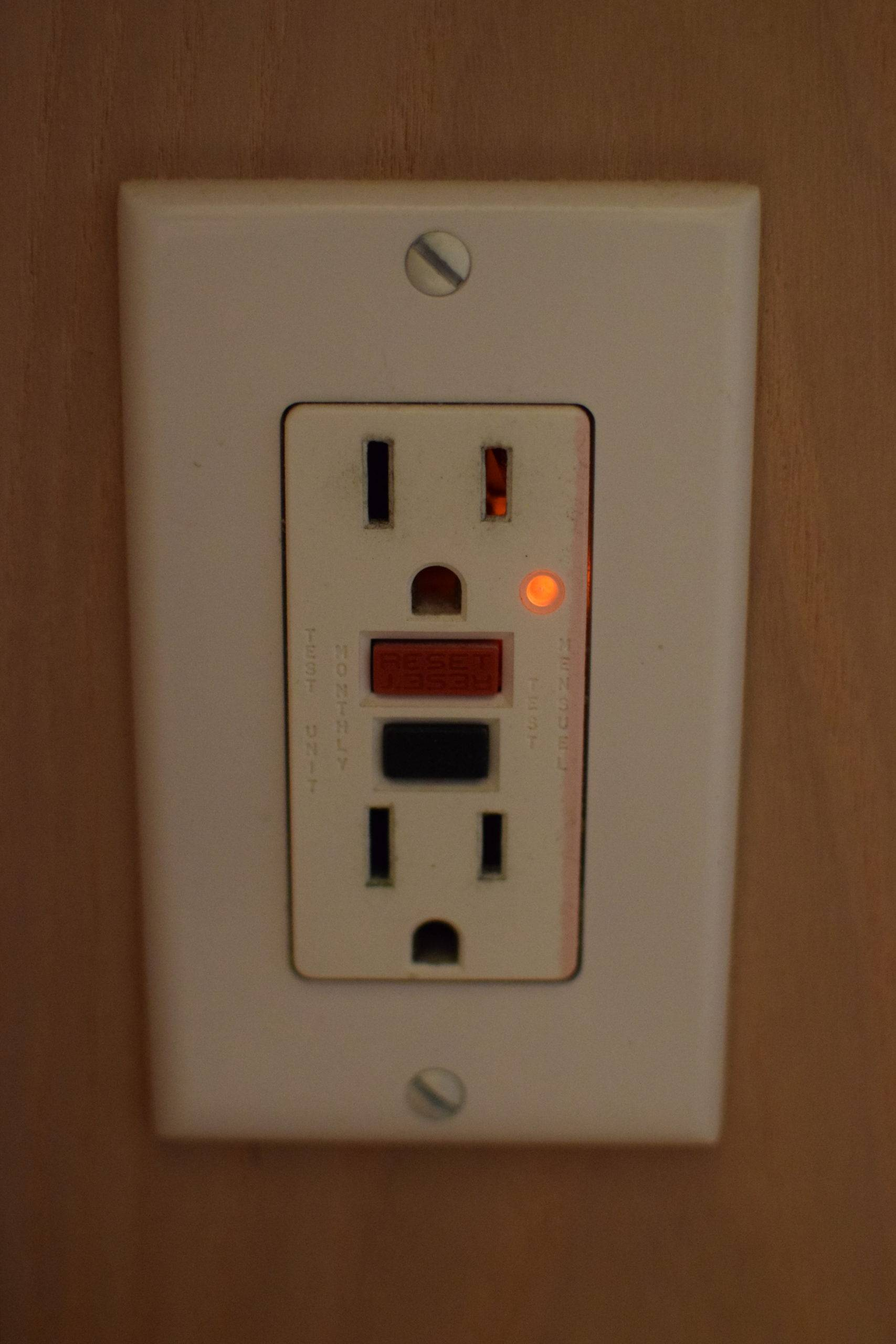 GFCI outlet on wall