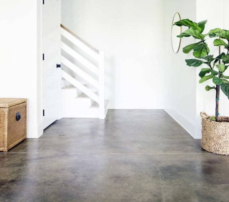 brown acid stain concrete against white walls