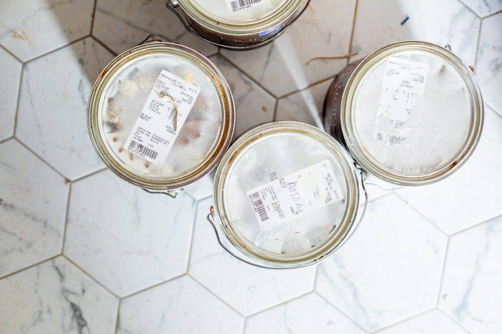 several paint cans
