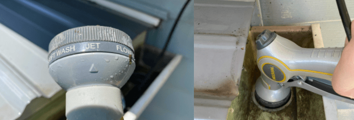 Water Hose Nozzle Used To Clean Gutter Downspout