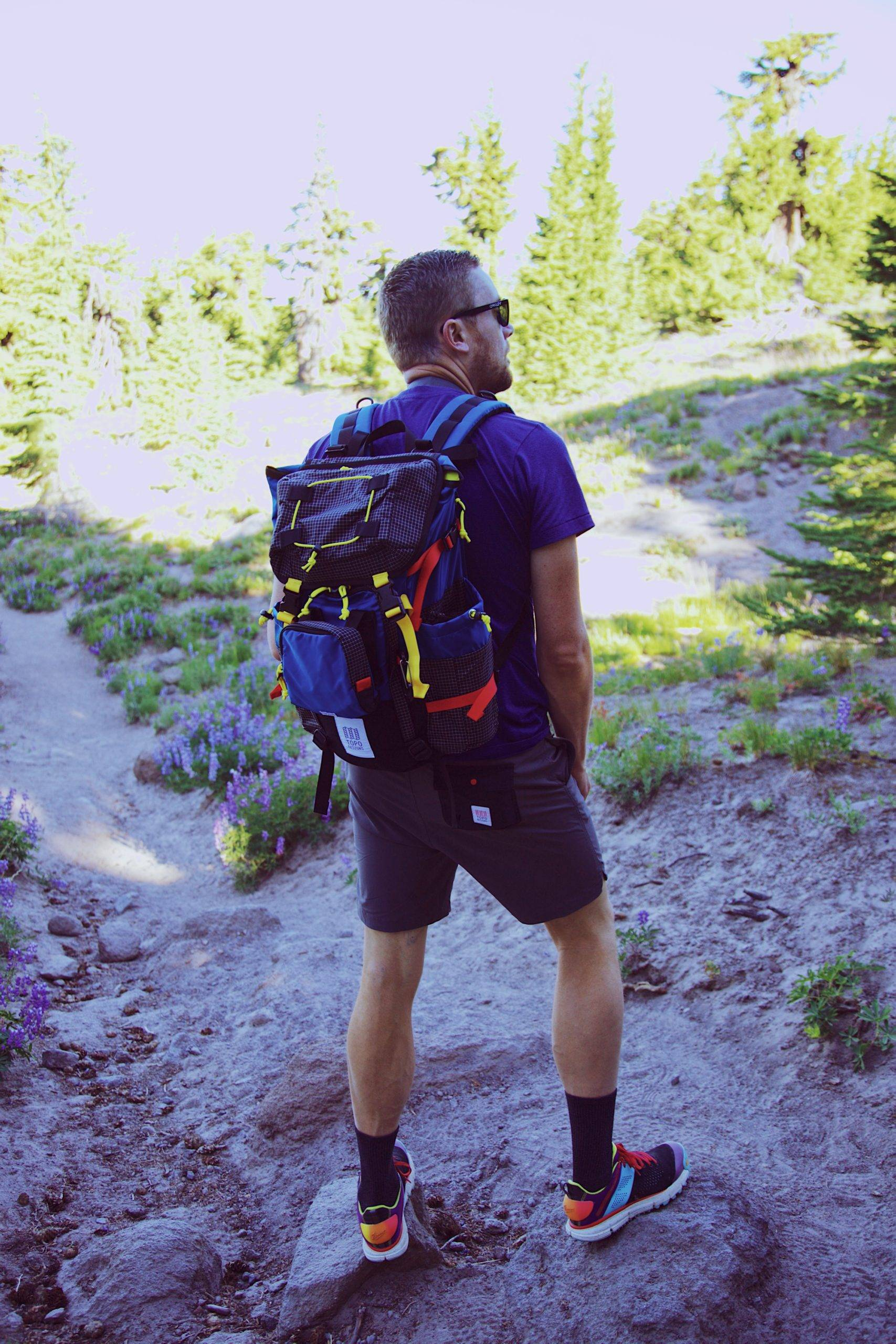 Man on shorts with backpack looking at trees