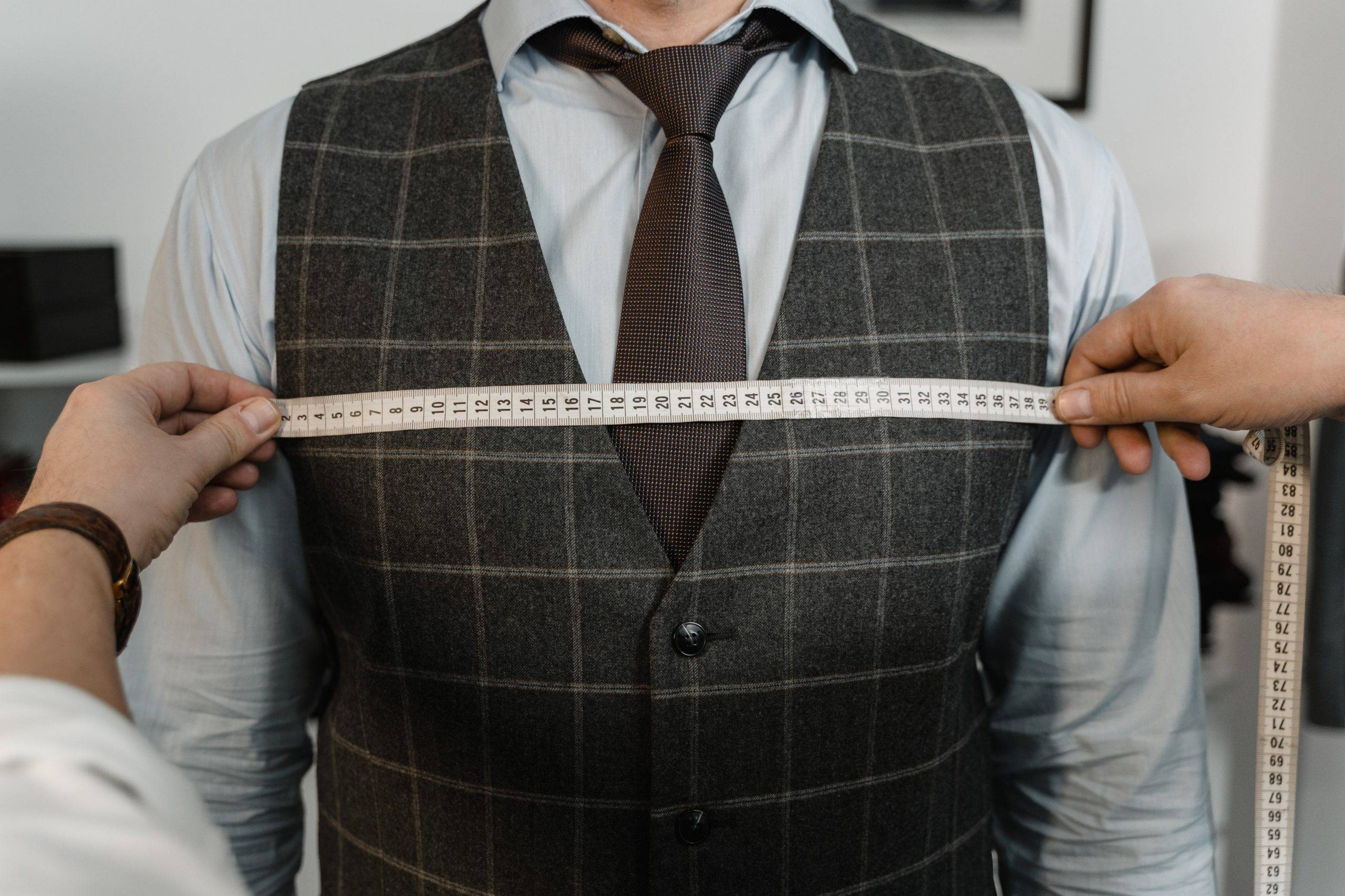 Tape measure across chest