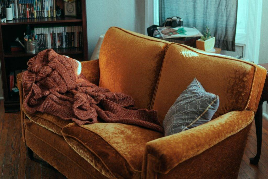 orange natural suede couch