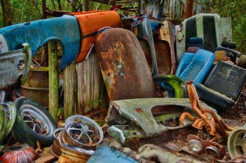 colorful pile of scrap metal