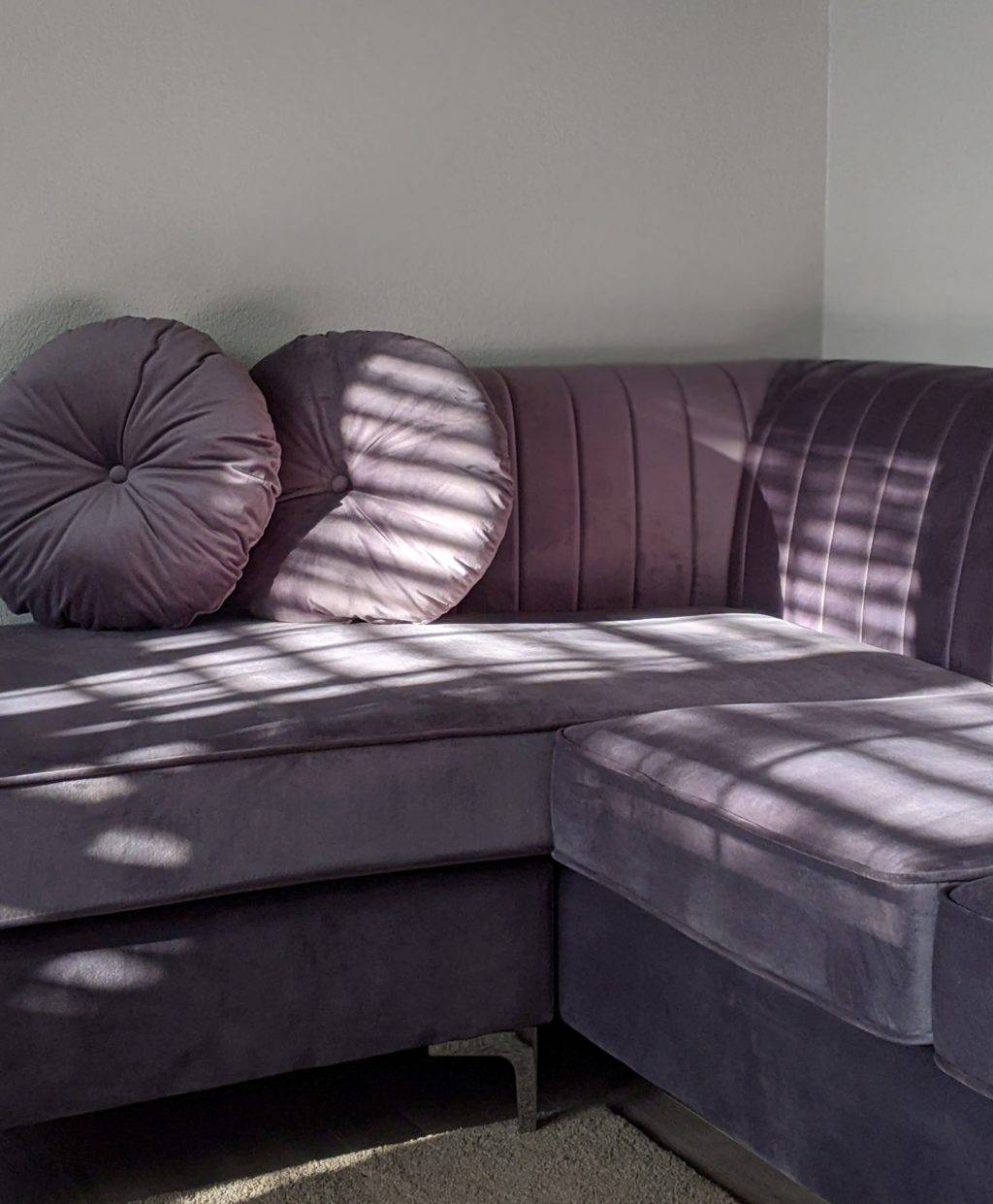 purple microfiber suede couch