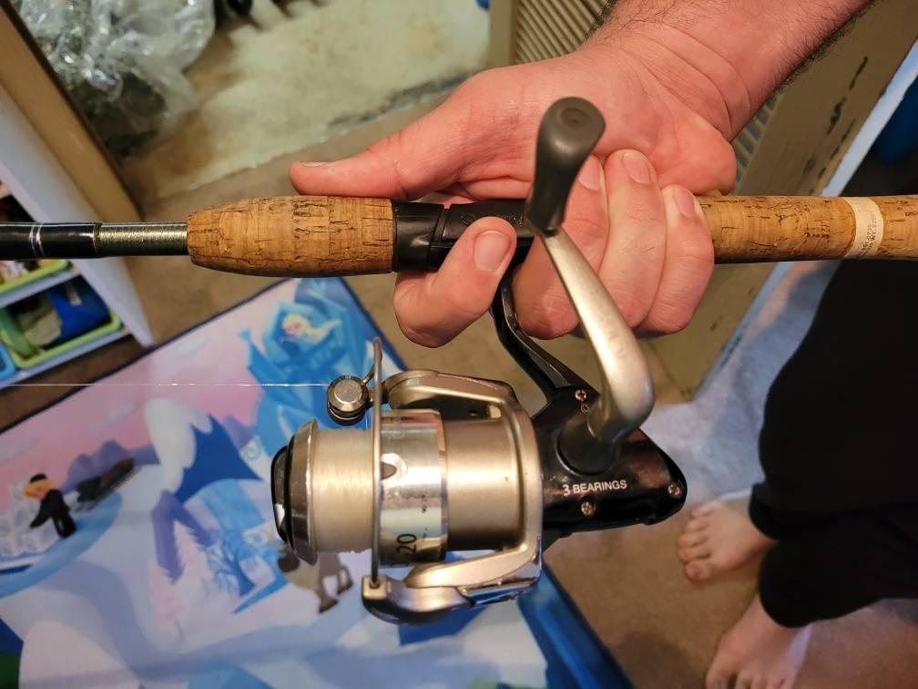 spinning reel on fishing rod