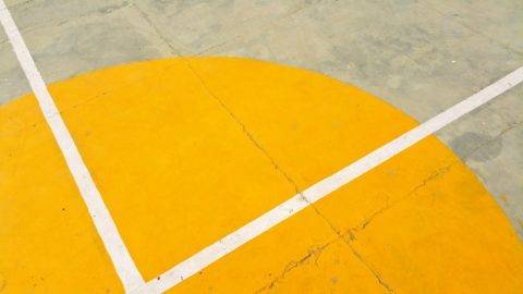 concrete painted yellow and white