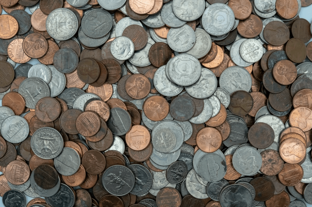 assorted coins in a pile