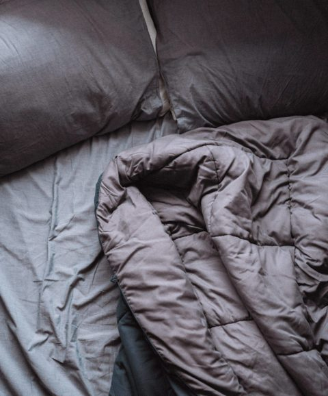 blanket on top of a bed