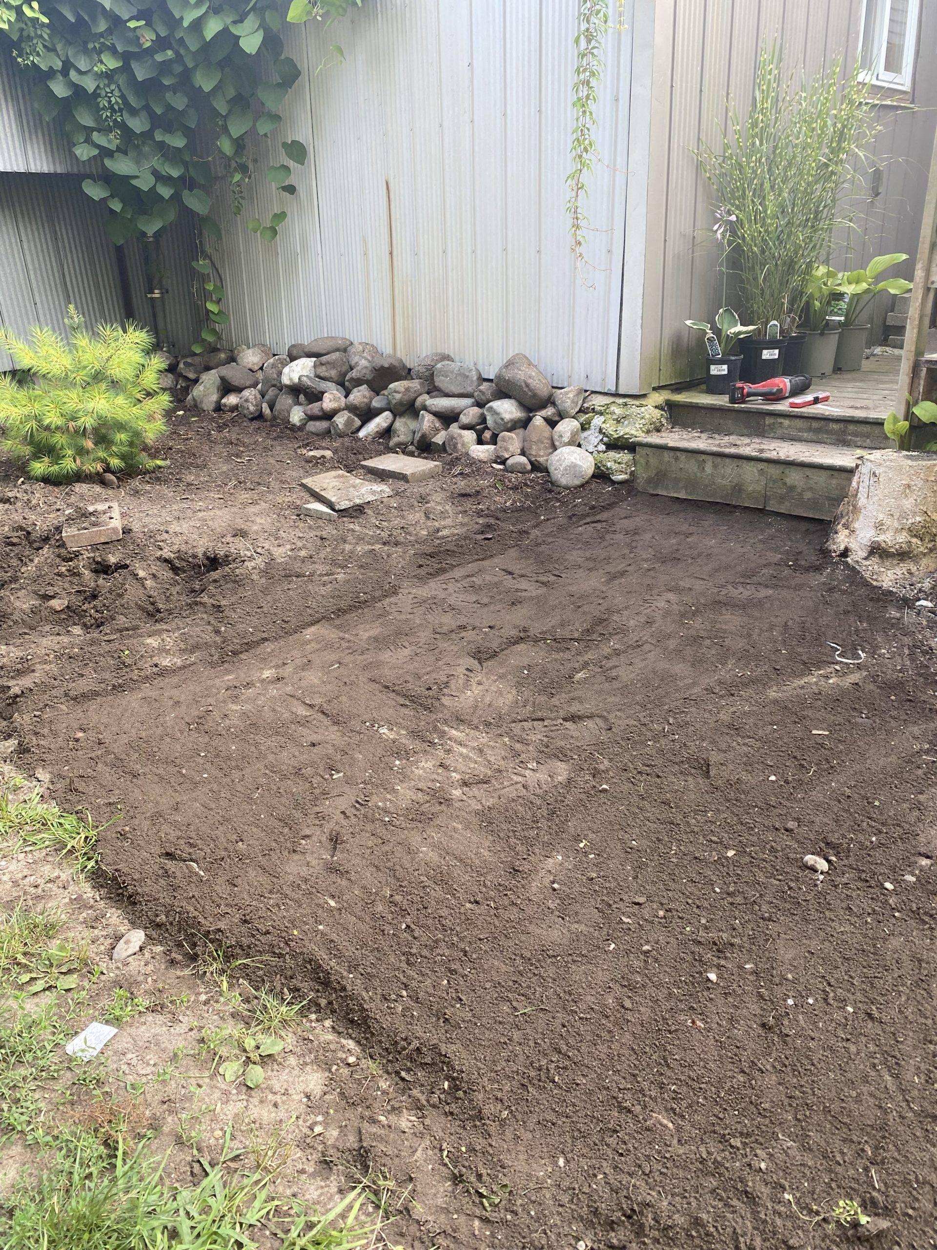 cleared dirt space in backyard