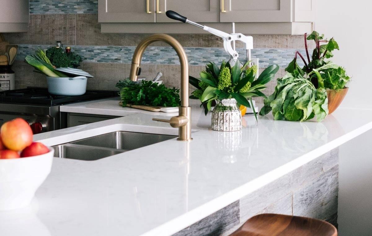 quartz countertop in kitchen