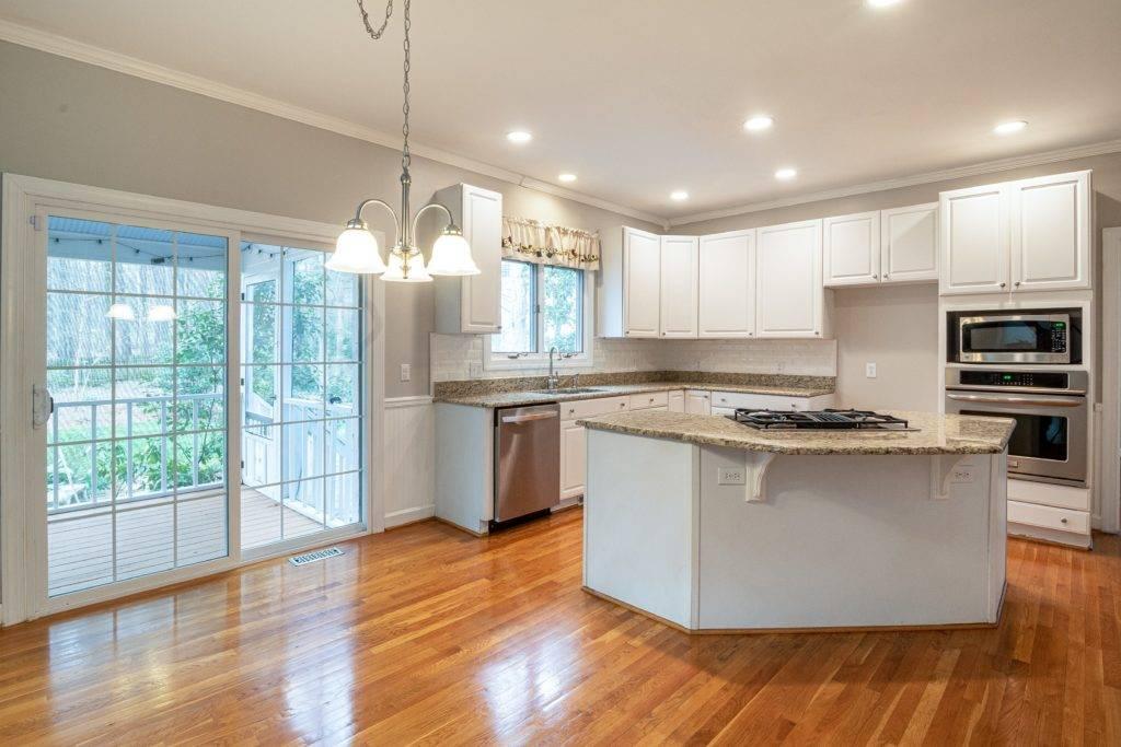kitchen with quartz countertop island