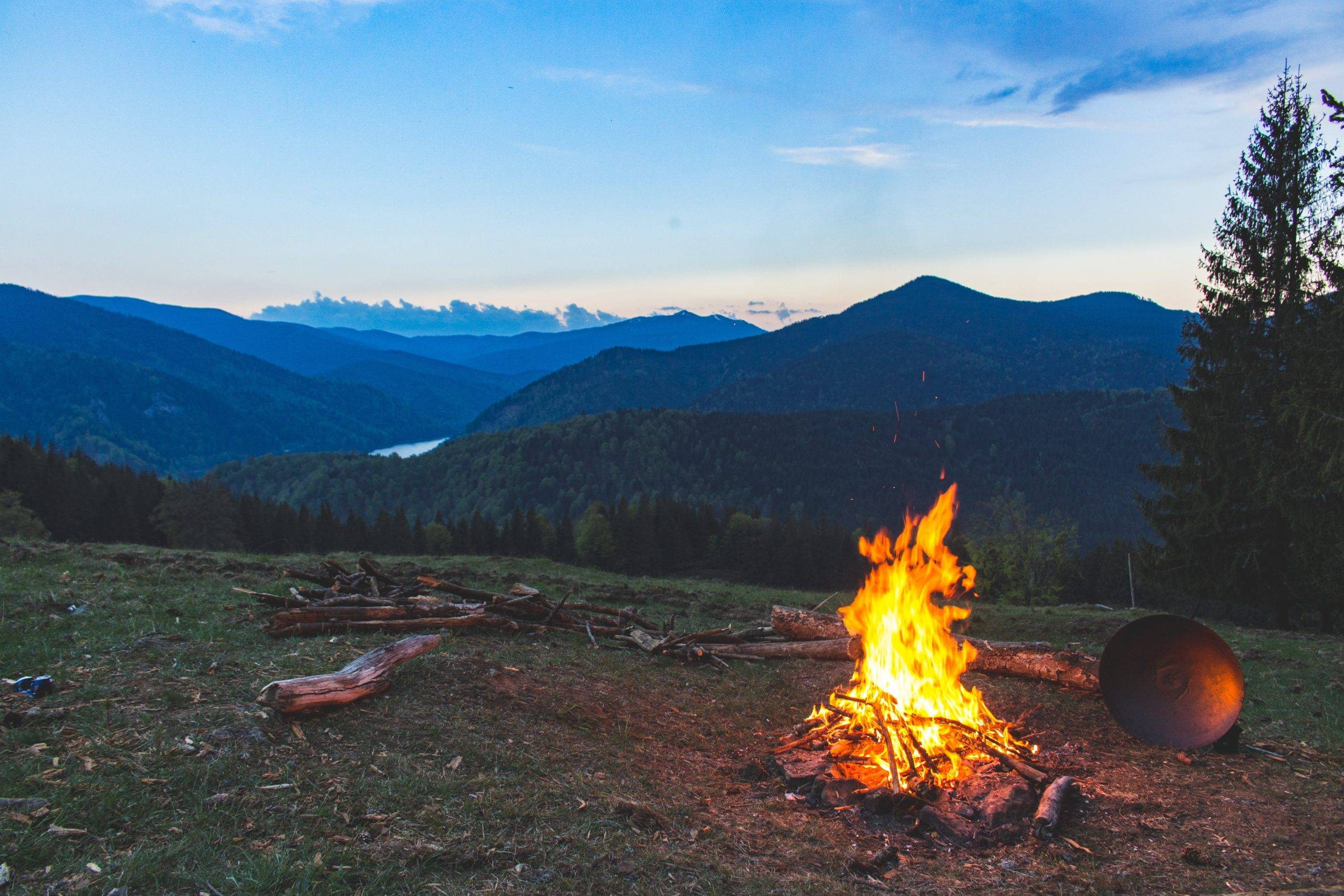 campfire burning in the mountains