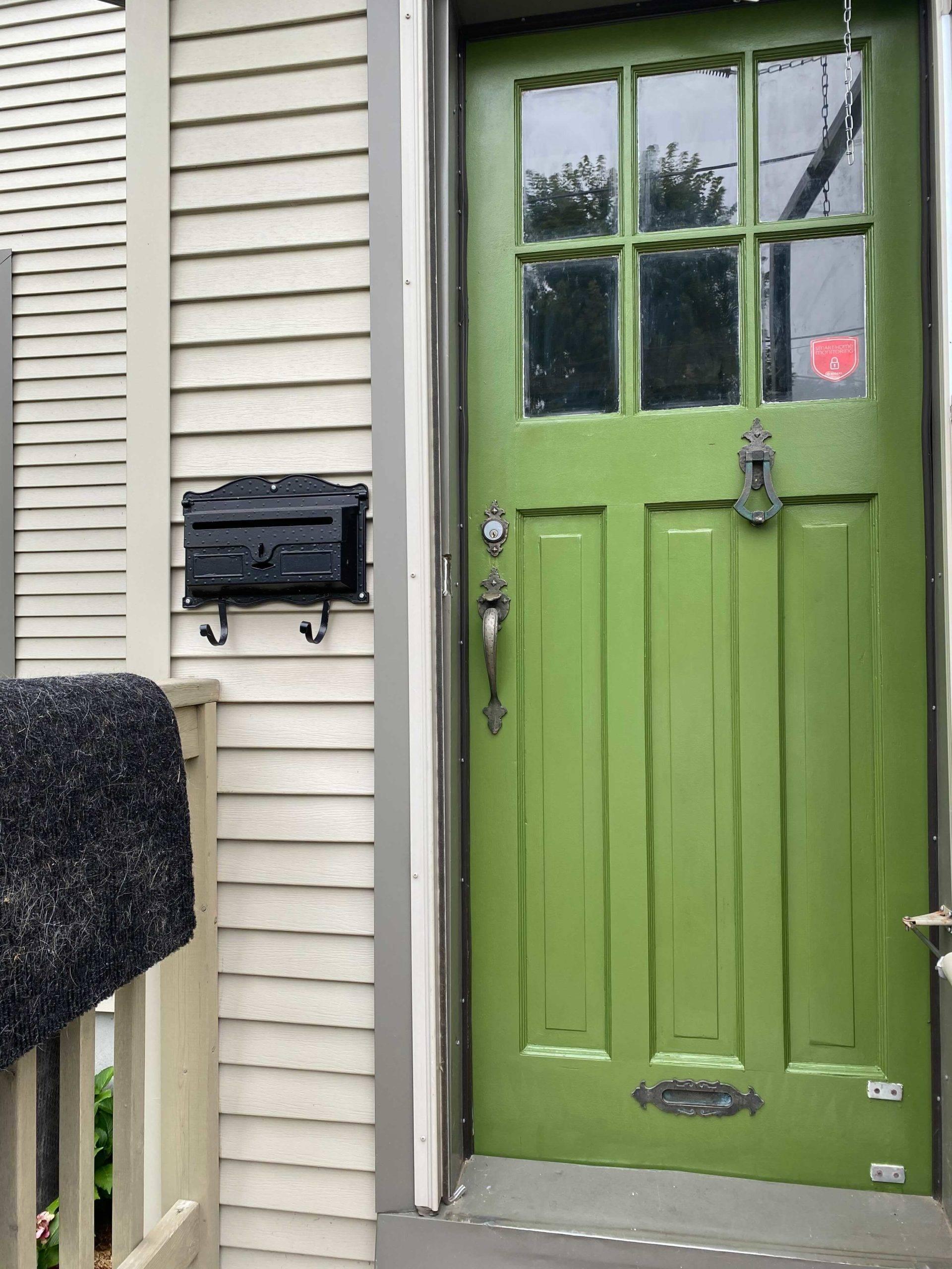 bright green wooden front door